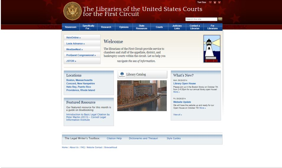 1st Circuit Court of Appeals Library Website after the migration into a Content Management System