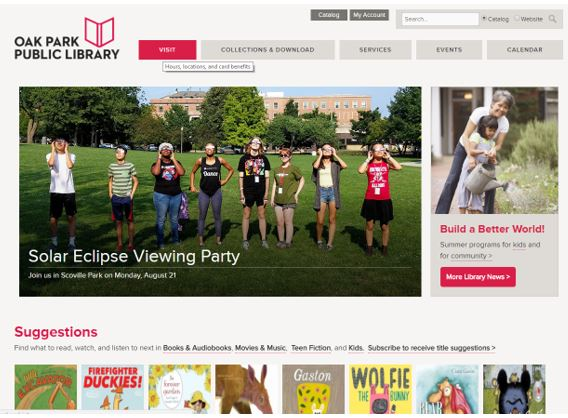 Oak Park Public Library website with the Visit menu tab highlighted