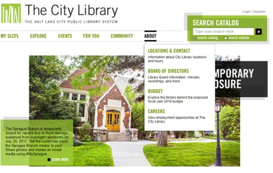 Salt Lake City Public Library Website, with the About Menu item selected to see the dropdown menu items contained in that heading