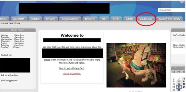 A small public library website with the quick links navigational item circled