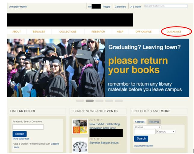 A University Library website with the Quick Links navigational item circled