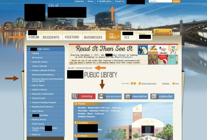 photo of a public library website within a city library's website, with arrows to point out the navigation menus