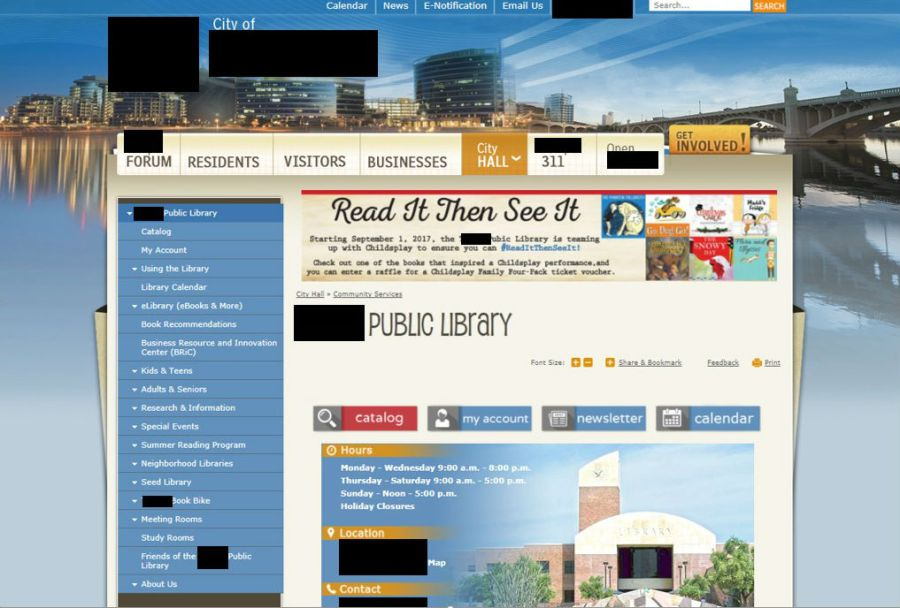photo of a public library website within a city library's website