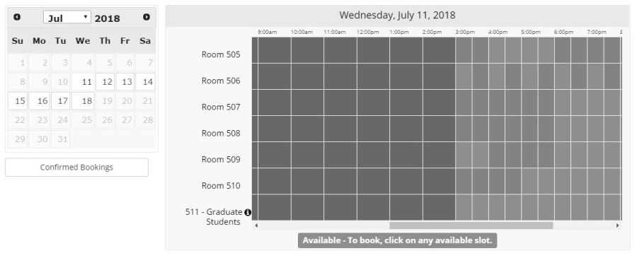Visual of a springshare calendar on an academic library website with the no coffee Achromatopsia filter applied