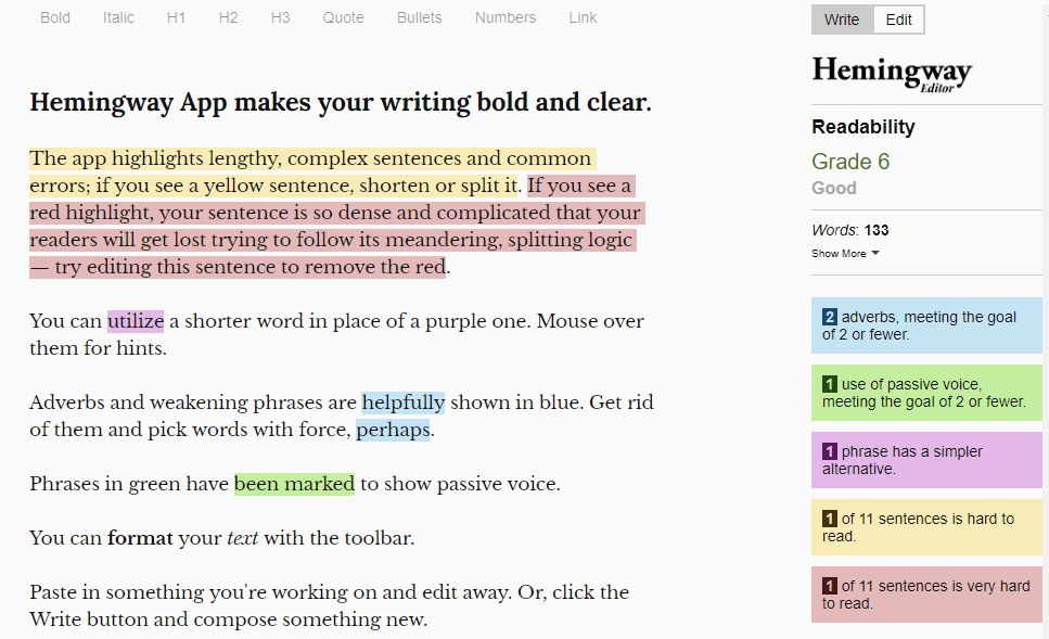 Screenshot of hemingwayapp.com. The items it thinks are problematic are highlighted in different colors, depending on the problem. Blue indicates adverbs, green indicates passive voice, purple indicates that there's a simpler alternative to a phrase, yellow means the sentence is hard to read, and red means the sentence is very hard to read.