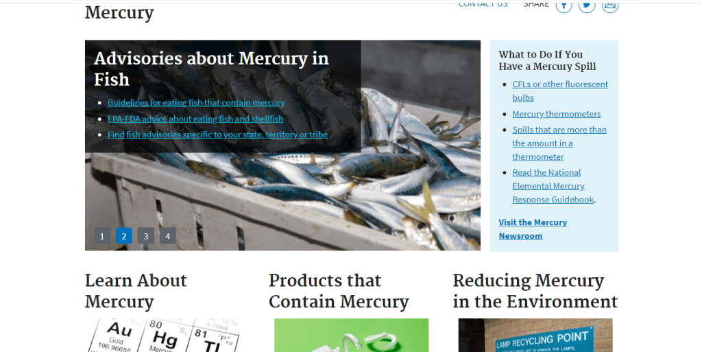 A Screenshot of the Mercury in Your Environment webpage on the EPA website
