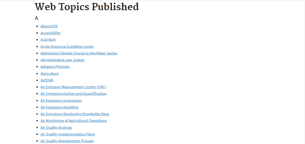 A screenshot of the redesigned EPA A to Z topics list on their website