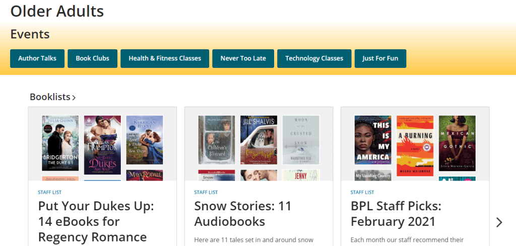 Screenshot of the Boston Public Library's Older Adults page