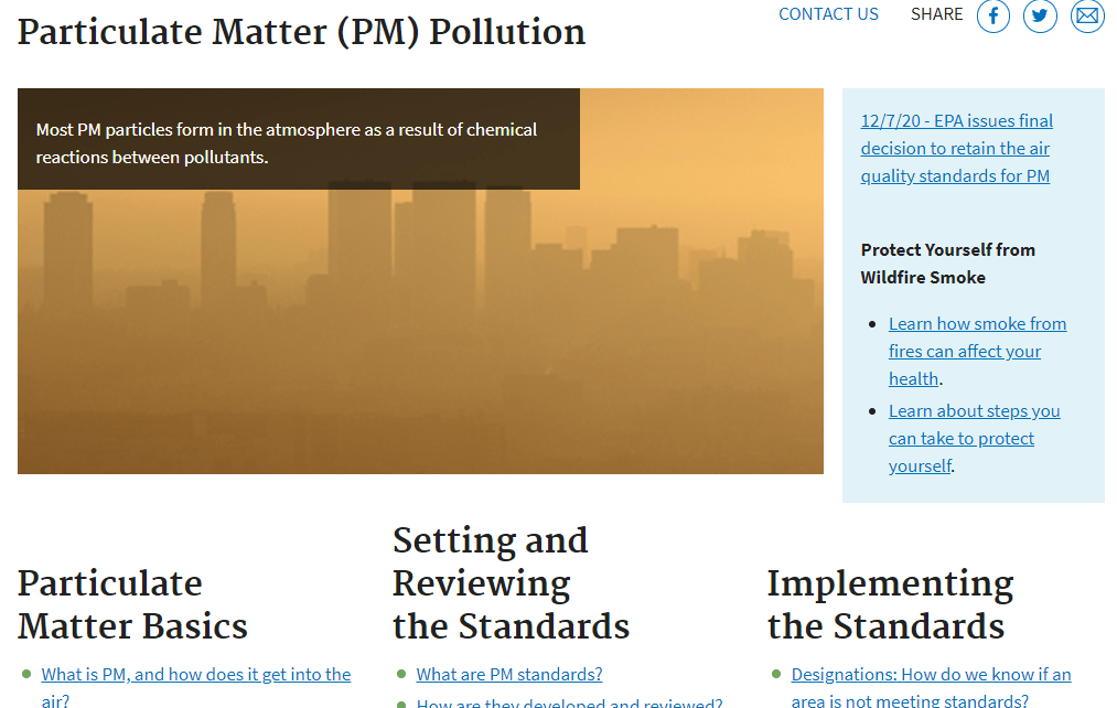 screenshot of the Particulate Matter (PM) Pollution site in the EPA.gov website