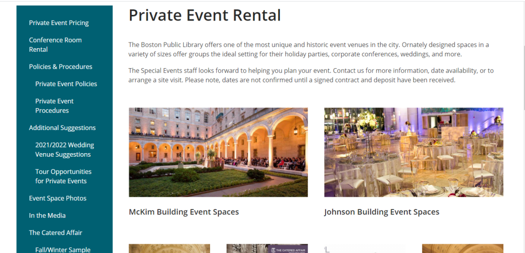 Screenshot of the Boston Public Library's Private Event Rental page