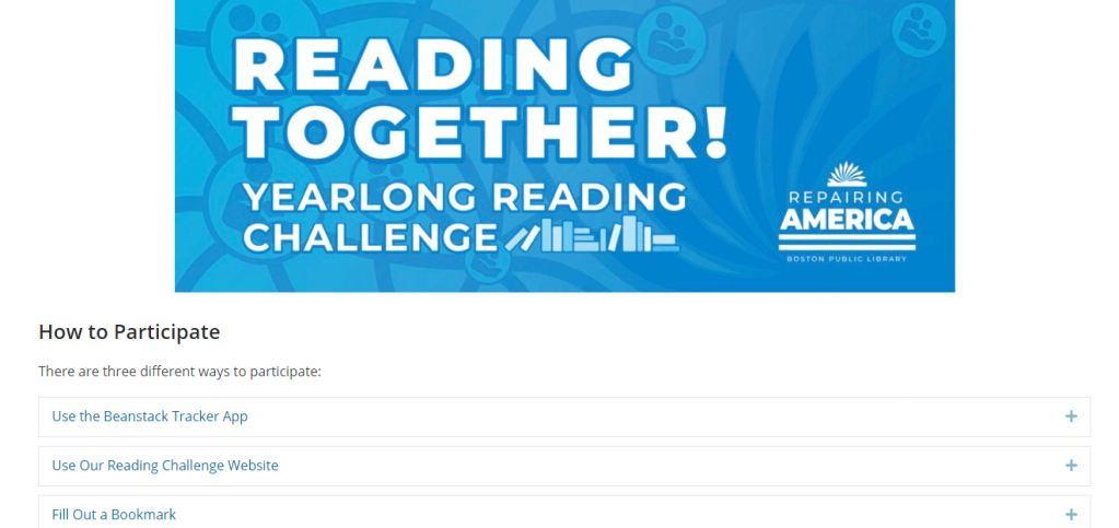 Screenshot of the 2021 Reading Together Challenge page on the Boston Public Library's website