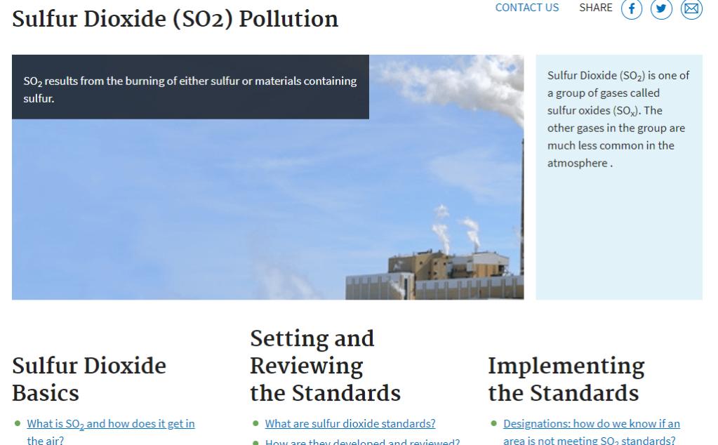 Screenshot of the EPA Sulfur Dioxide (SO2) Pollution website