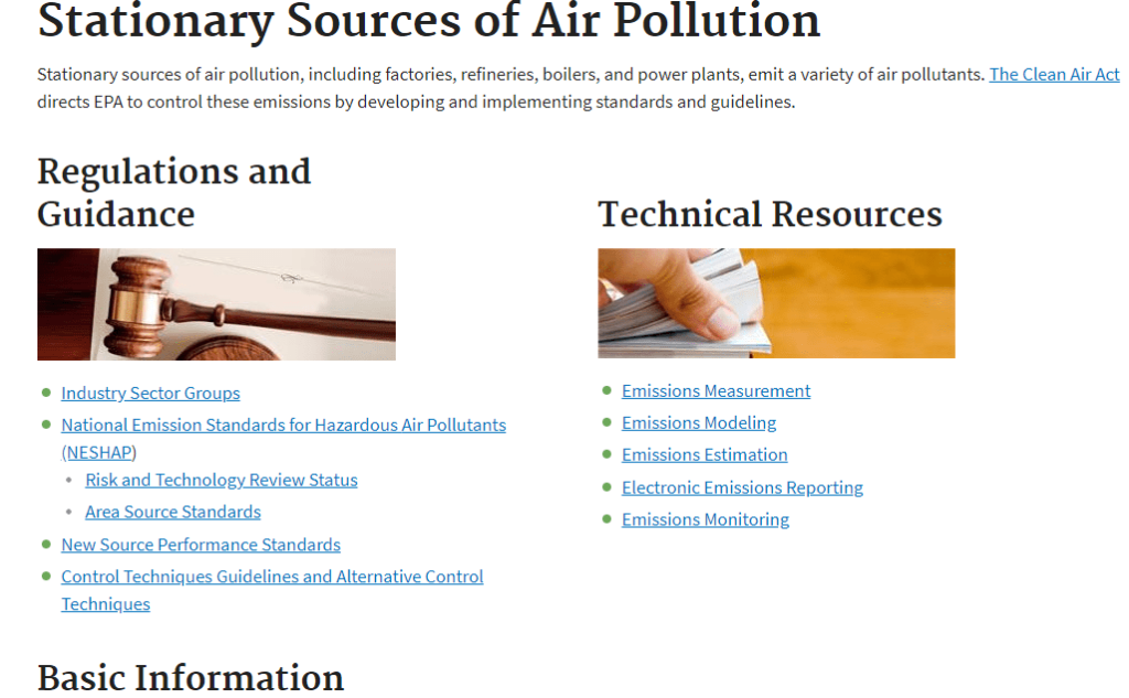 Screenshot of EPA Stationary Sources of Air Pollution website