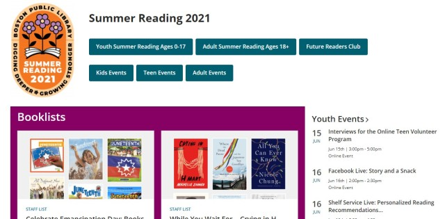 Image of the Summer Reading 2021 main page